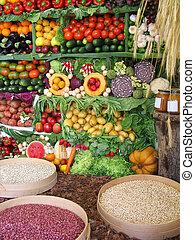 frutte, verdura, colorito, fagioli