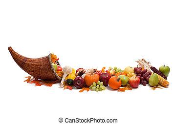 frutte, verdura, disposizione, cadere