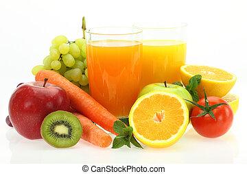 frutte, verdure fresche, succo