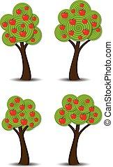 frutte, vettore, mela, albero