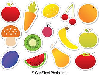 frutte, vettore, verdura