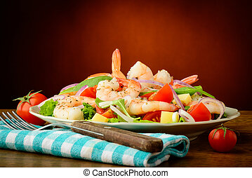 frutti mare, gamberetti, insalata