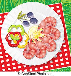 frutti mare, verdura