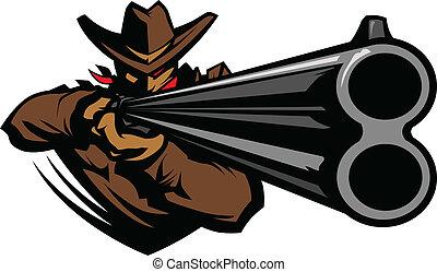 fucile caccia, punteria, vettore, cowboy, mascotte