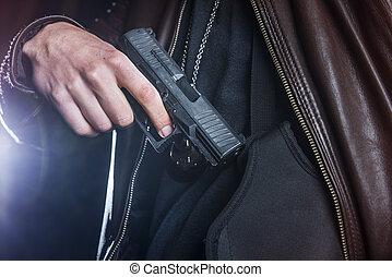 fucile, enforcer, fondina, tirare, legge, fuori