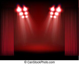 fumo, luci punto, contenuto, luminoso, sagoma, curtains., palcoscenico