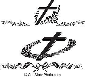 funerale, ghirlanda, croce