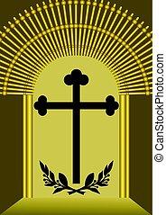 funereal, dorato, silhouette, croce, lussuoso, decorazione, alloro, rami, cancello