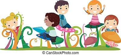 funghi, bambini, stickman