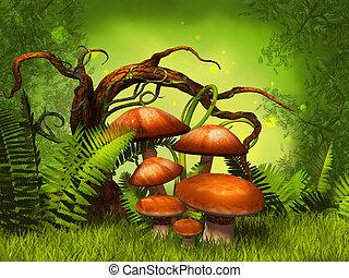 funghi, fantasia, foresta