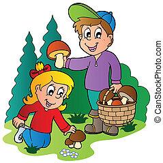funghi, scegliere, bambini, su