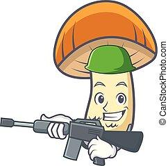 fungo, esercito, berretto, carattere, boletus, arancia, cartone animato