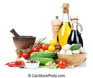 fungo, ingredienti, programmazione strutturata, cetriolo, cooking:, fresco, pomodoro