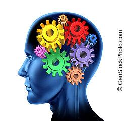 funzione, intelligenza, cervello