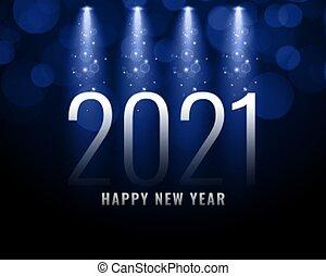 fuoco, 2021, anno, effetto, luce, fondo, nuovo