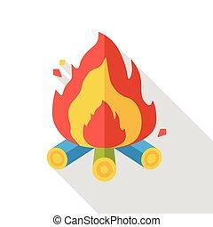 fuoco, appartamento, campeggio, icona