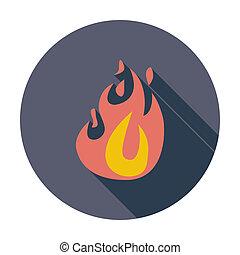 fuoco, appartamento, icona