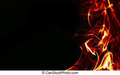 fuoco, astratto, nero, cornice, bacground