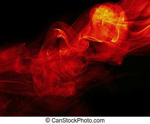 fuoco, astratto, sfondo nero