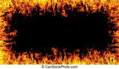 fuoco, backgroudn, nero, astratto, cornice