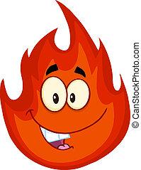 fuoco, carattere, cartone animato, felice