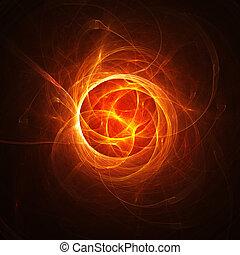 fuoco, centro, caldo, caos