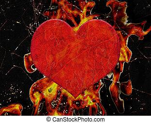 fuoco, cuore, grunge, illustrazione
