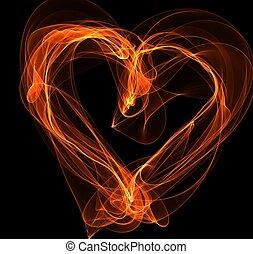 fuoco, cuore, illustrazione