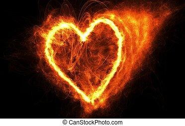fuoco, cuore, nero
