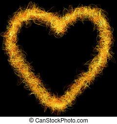 fuoco, cuore, sfondo nero