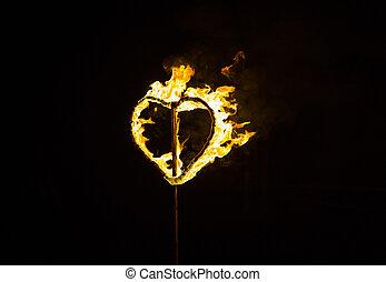 fuoco, cuore, sfondo nero, urente