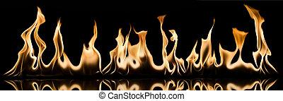 fuoco, fiamma, nero