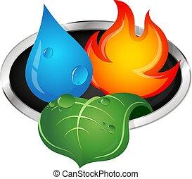 fuoco, foglia verde, acqua