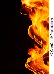 fuoco, fondo, nero