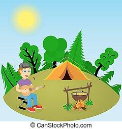 fuoco, giovane, radura, chitarra, foresta, tipo, tenda