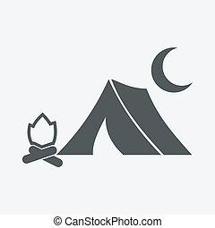 fuoco, icona, tenda, luna