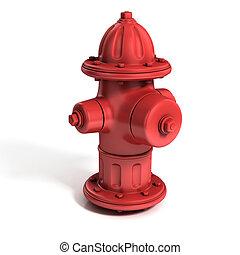 fuoco, illustrazione, 3d, idrante