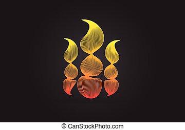 fuoco, immagine, vettore, fiamme