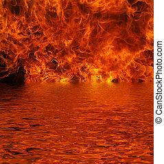fuoco, lago