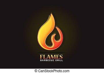 fuoco, logotipo, fiamme