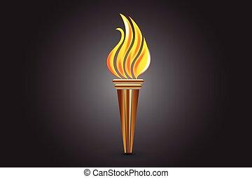 fuoco, logotipo, torcia, fiamme