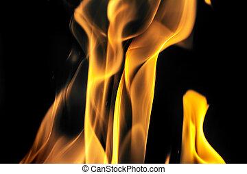 fuoco, nero, fiamma, fondo
