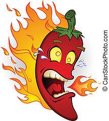 fuoco, pepe, peperoncino, caldo, cartone animato