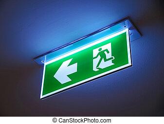 fuoco, segno., uscita, emergenza