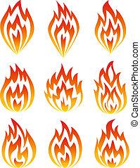fuoco, set, icons.