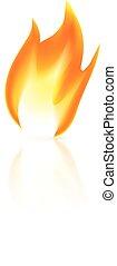 fuoco, sfondo bianco, icona