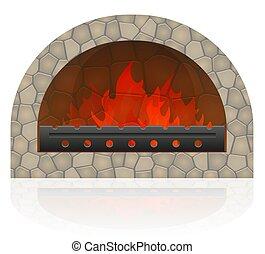 fuoco, vettore, caminetto, illustrazione, urente