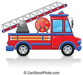 fuoco, vettore, camion, illustrazione