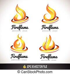 fuoco, vettore, fiamma, logotipo, disegno, icon.