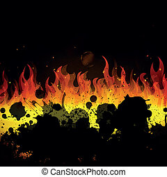 fuoco, vettore, fiamme